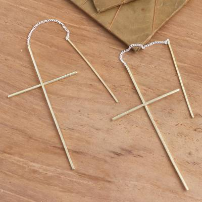Gold plated threader earrings, 'Delicate Golden Cross' - Gold Plated Threader Earrings Cross