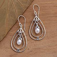 Cultured pearl dangle earrings, 'Pearly Tears' - Cultured Pearl and Sterling Silver Teardrop Dangle Earrings
