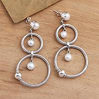 Cultured pearl dangle earrings, 'What Goes Around' - Double Circle Dangle Earrings with Cultured Pearls