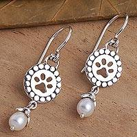 Cultured freshwater pearl dangle earrings, 'Paws and Pearls' - Cultured Freshwater Pearl Dangle Paw Print Earrings