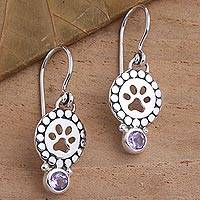 Amethyst dangle earrings, 'Paws and Gems in Purple' - Amethyst Sterling Silver Paw Print Dangle Earrings