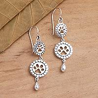 Sterling silver dangle earrings, 'Paw and Pendant' - Sterling Silver Paw Print Dangle Earrings on Hooks