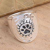 Sterling silver dome ring, 'Paw Perfection' - Wide Sterling Silver Paw Print Ring