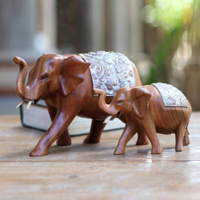 Wood sculptures, 'Royal Mother and Child' (pair) - Artisan Crafted Elephant Sculptures (Pair)