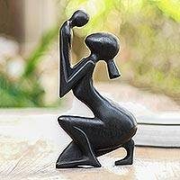 Wood statuette, 'Tender Occasion' - Hand Crafted Suar Wood Statuette
