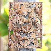 Wood relief panel, 'Bird Paradise' - Hummingbird Hand Carved Suar Wood Relief Panel