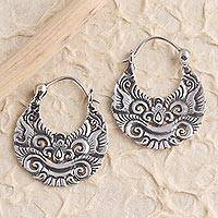 Sterling silver hoop earrings, 'Barong' - Sterling Silver Abstract Barong Hoop Earrings