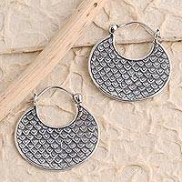 Sterling silver hoop earrings, 'Dragon Skin' - Sterling Silver Hoop Earrings Dragon Skin