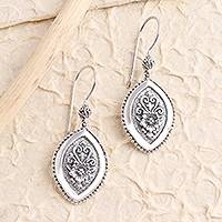 Sterling silver dangle earrings, 'Island Flower' - Marquise Flower Sterling Silver Dangle Earrings