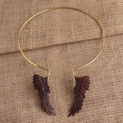 Gold plated wood collar necklace, 'Ancient Wings' - Unique Gold Plated Collar Necklace with Wings