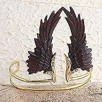 Gold plated wood armlet, 'Ancient Wings' - Hand Crafted Wood and Gold Plated Armlet