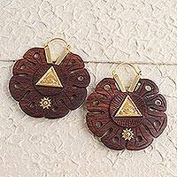 Gold accented wood hoop earrings, 'Eye of Providence' - Eye of Providence Gold Accented Wood Earrings