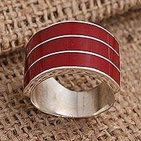 Sterling silver band ring, 'Band of Three - Red' - Triple Band Ring Red Resin Sterling Silver