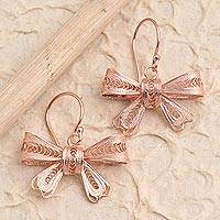 Rose gold plated filigree dangle earrings, 'Lovely Ribbon' - Hand Crafted Rose Gold Plated Dangle Earrings