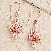 Rose gold plated filigree dangle earrings, 'Flower Lights' - Hand Crafted Rose Gold Plated Flower Dangle Earrings