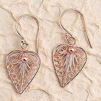 Rose gold plated filigree dangle earrings, 'Fall Leaf' - Artisan Made Sterling Silver Rose Gold Dangle Earrings