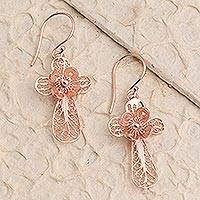 Rose gold plated filigree dangle earrings, 'Flower Cross' - Hand Crafted Rose Gold Plated Flower Dangle Earrings