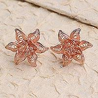 Rose gold plated filigree button earrings, 'Flower Joy' - Hand Made Rose Gold Plated Flower Button Earrings