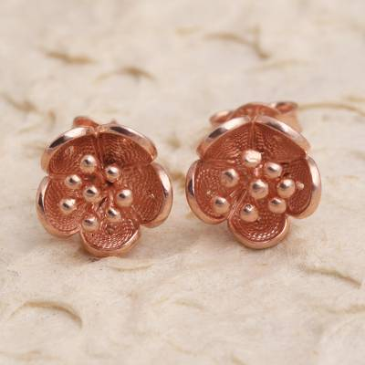Rose gold plated filigree stud earrings, 'Impressive Flowers' - Hand Made Rose Gold Plated Flower Stud Earrings