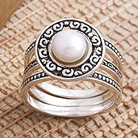 Cultured pearl cocktail ring, 'Curls and Pearls' - Cultured Pearl Sterling Silver Cocktail Ring