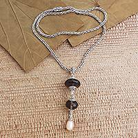 Smoky quartz and cultured pearl pendant necklace, 'Merajan in Brown' - Smoky Quartz and Cultured Pearl Pendant Necklace