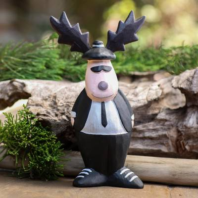 Wood statuette, 'Gentleman Moose' - Albesia Wood Hand Carved Moose Statuette