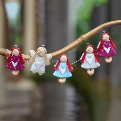 Wood magnets, 'Angel Contingent' (set of 5) - Artisan Crafted Angel Magnets Made from Wood