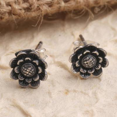 Sterling silver stud earrings, 'Small Sunflowers' - Hand Crafted Sterling Silver Sunflower Stud Earrings