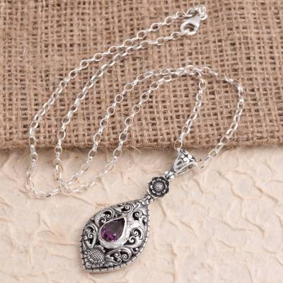 Amethyst pendant necklace, 'Balinese Traditional' - Artisan Crafted Amethyst Sterling Silver Pendant Necklace