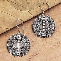Sterling silver dangle earrings, 'Here and Now' - Balinese Sterling Silver Disc Dangle Earrings