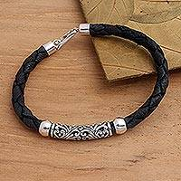 Sterling silver and leather pendant bracelet, 'Sanur Flourish' - Balinese Style Sterling Silver and Leather Bracelet