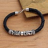 Sterling silver and leather pendant bracelet, 'Tropical Motif' - Artisan Crafted Sterling Silver and Leather Bracelet