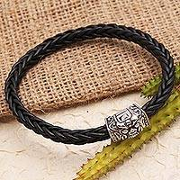 Sterling silver and leather bracelet, 'Barong Box' - Balinese Sterling Silver Leather Cord Bracelet