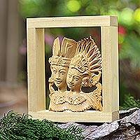 Wood sculpture, 'Balinese Dancing Duo' - Hand Made Crocodile Wood Sculpture
