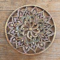 Hand carved wood relief panel, 'Antique Lotus' - Hand Carved Suar Wood Floral Relief Panel