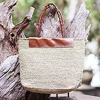 Cotton and leather tote bag, 'Quick Trip' - Hand Crafted Cotton and Leather Tote Bag from Bali