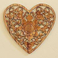Wood relief wall panel, 'Love Flower' - Hand Carved Suar Wood Heart Relief Panel with Floral Motif