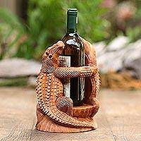 Wood wine holder, 'Crocodile Embrace' - Hand Carved Suar Wood Crocodile Wine Holder