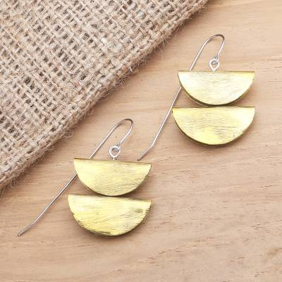 Brass dangle earrings, 'Double Half-Round' - Balinese Brass and Stainless Steel Dangle Earrings
