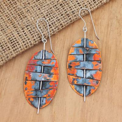 Copper dangle earrings, 'Oval Stitches' - Balinese Copper and Stainless Steel Dangle Earrings