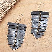 Brass dangle earrings, 'Graduated Bars' - Balinese Brass Dangle Earrings on Stainless Steel Hooks