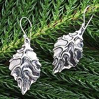 Sterling silver dangle earrings, 'Autumn Dream' - Handmade Sterling Silver Leaf Dangle Earrings