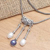 Cultured mabe pearl pendant necklace, 'Three Defenders' - Cultured Mabe Pearl and Sterling Silver Pendant Necklace
