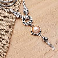 Cultured mabe pearl pendant necklace, 'Orange Moon' - Sterling Silver and Cultured Mabe Pearl Pendant Necklace