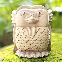Wood statuette, 'Little Friend' - Hand Carved Hibiscus Wood Owl Statuette