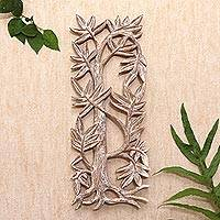 Wood relief panel, 'Growing Bamboo' - Hand Carved Suar Wood Leaf-Motif Relief Panel