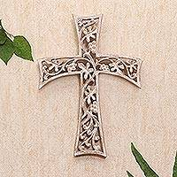 Wood wall cross, 'Grape Leaf Cross' - Hand Made Suar Wood Cross Relief Panel