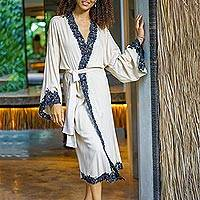Embroidered cotton robe, 'Lounge Time' - Long Embroidered Cotton Robe from Bali