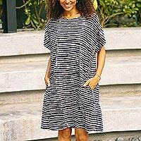 Cotton batik dress, 'Stormy Afternoon' - Hand Sewn Striped Cotton Dress