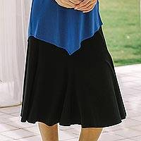 Everyday comfort modal skirt, 'New Classic' - Artisan Crafted Black Modal Knee-Length Skirt